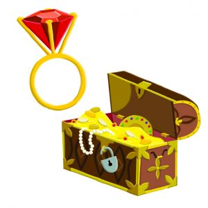 Ruby ring and treasure chest for pirate themed magnet board for a children's hospital