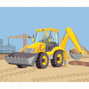 "Ladybird Read it Yourself ""Big Machines"" digger spread"