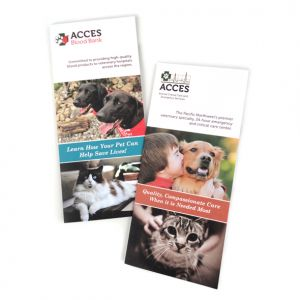 Capabilities brochures for ACCES (Animal Critical Care Emergency Services) and the ACCES Blood Bank.