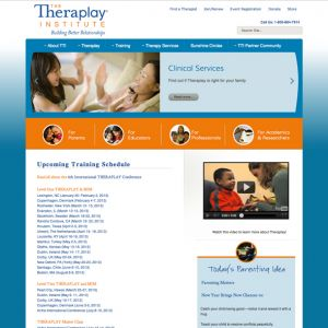 Theraplay Institute—Art direction and content creation for customization of Joomla template. Web developer: Dawn Larbalestier